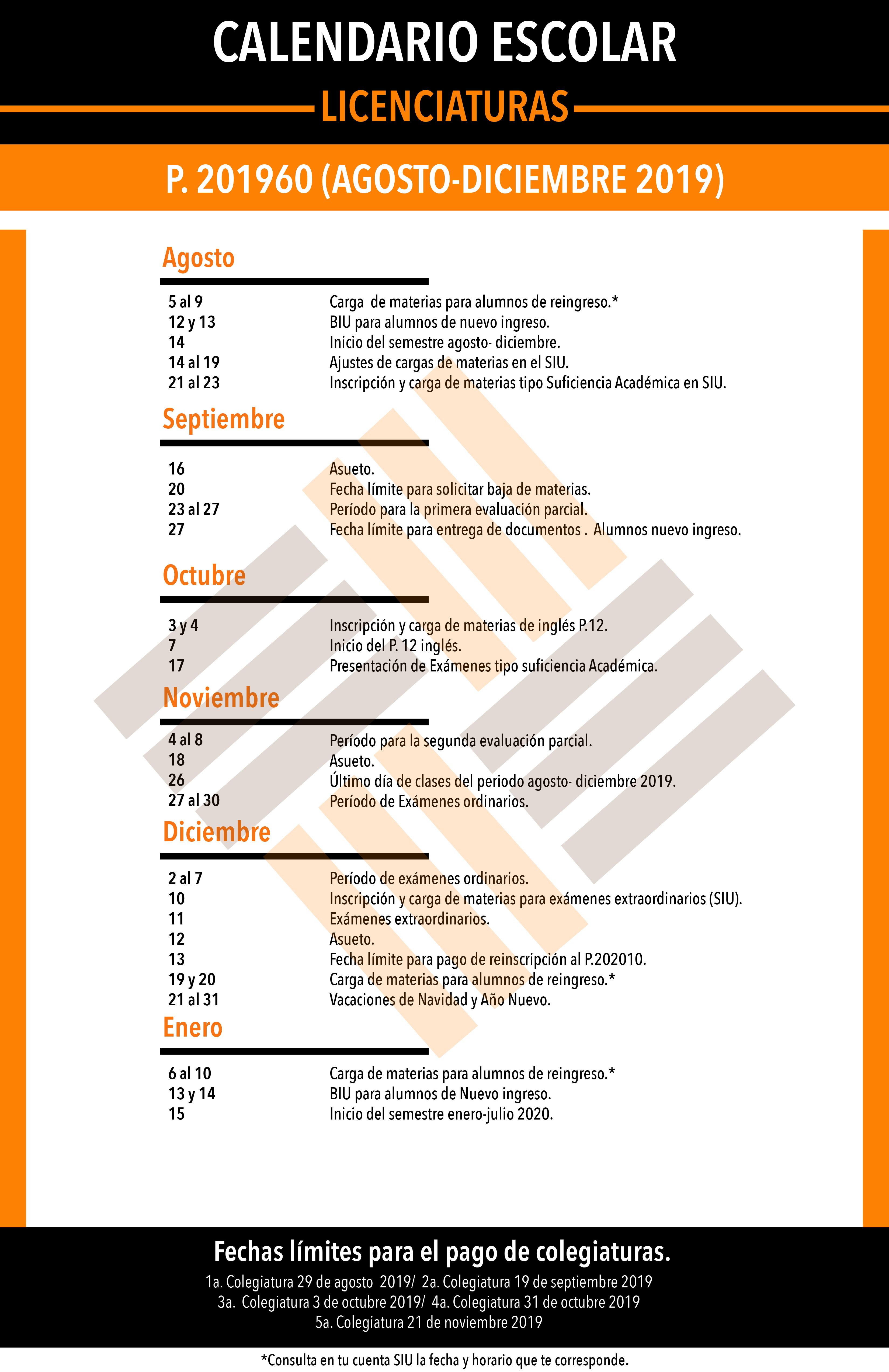 Calendario 2019 Agosto A Diciembre.Calendario Escolar Licenciaturas Universidad Anahuac Cancun