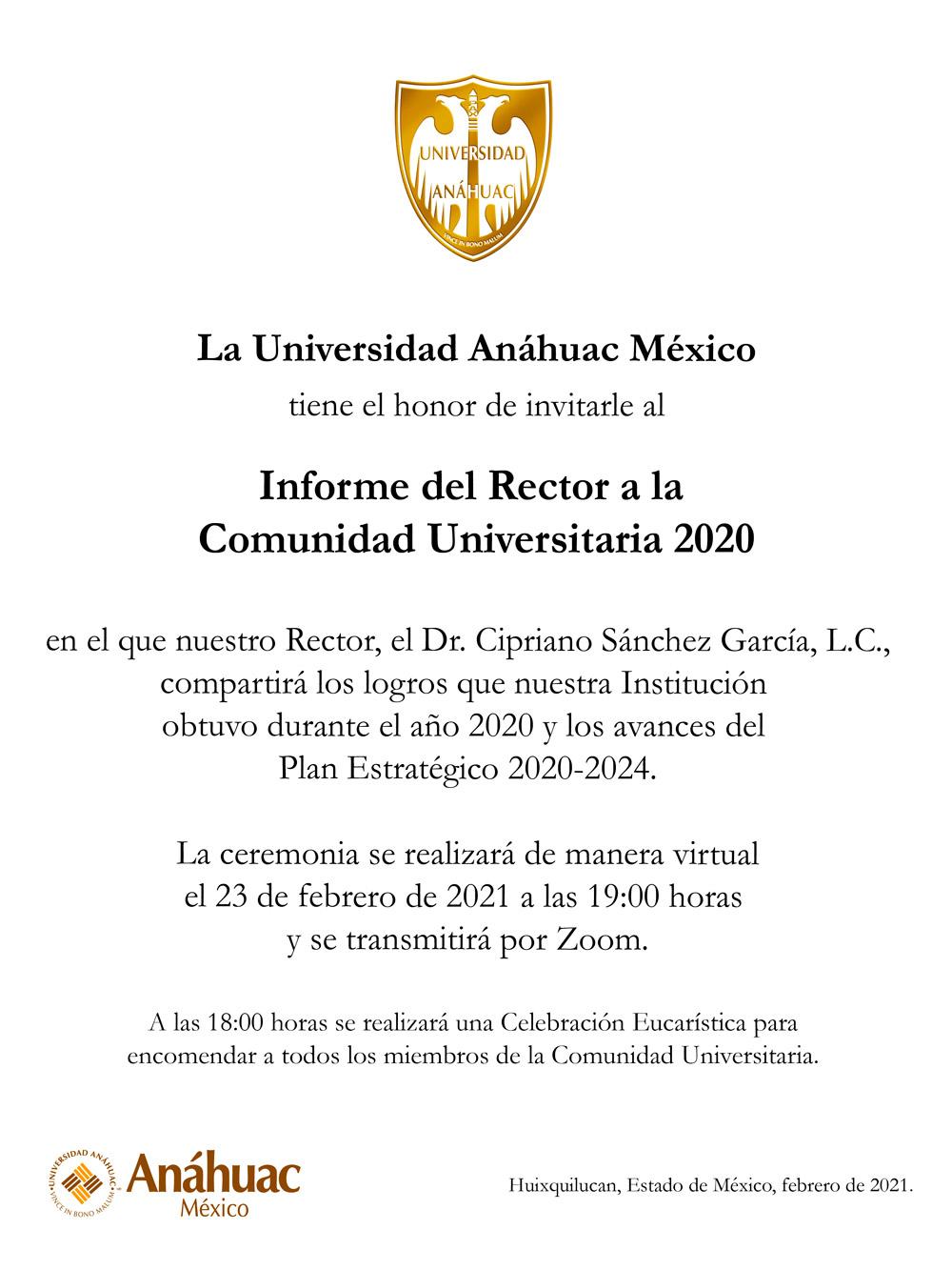Invitación informe del rector