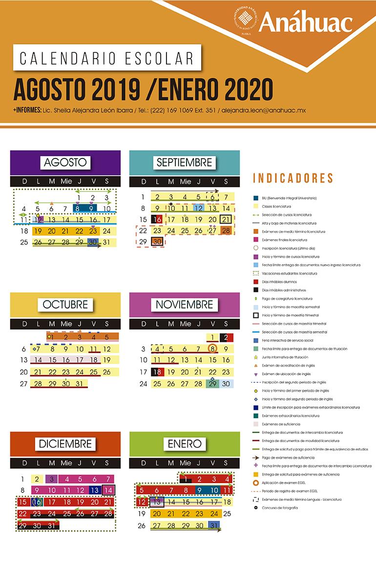 Calendario Enero 1978.Calendario Universitario Universidad Anahuac Puebla