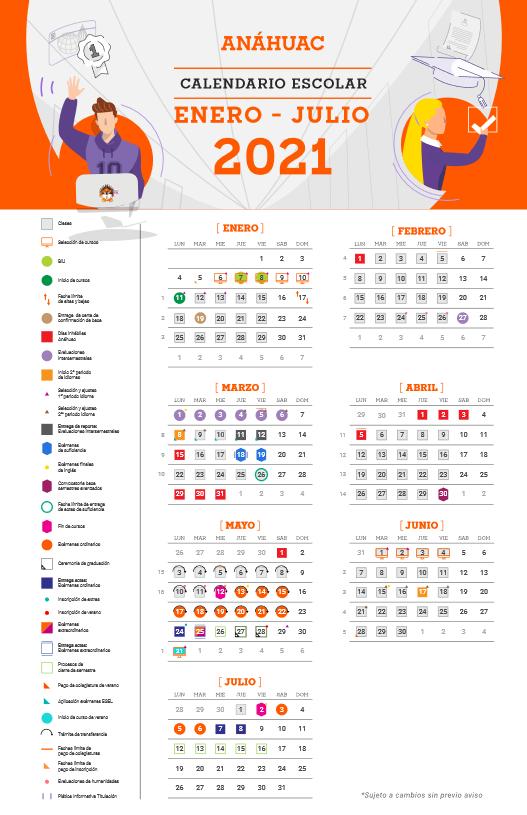Calendario Agosto - Diciembre 2020