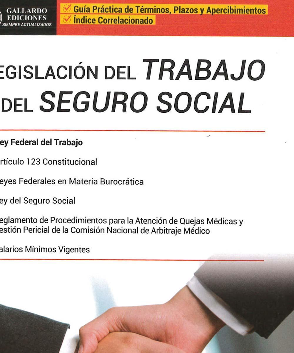 12 / 13 - KGF1789 L44 Legislación del trabajo y del seguro social - Gallardo Ediciones, México 2018