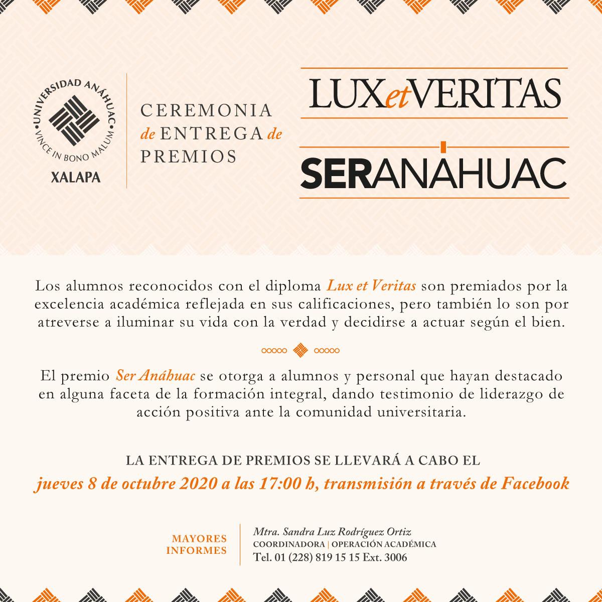 Ceremonia de Entrega de Premios Lux et Veritas y Ser Anáhuac